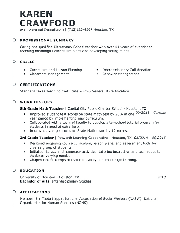 examples of professional experience on a teacher resume