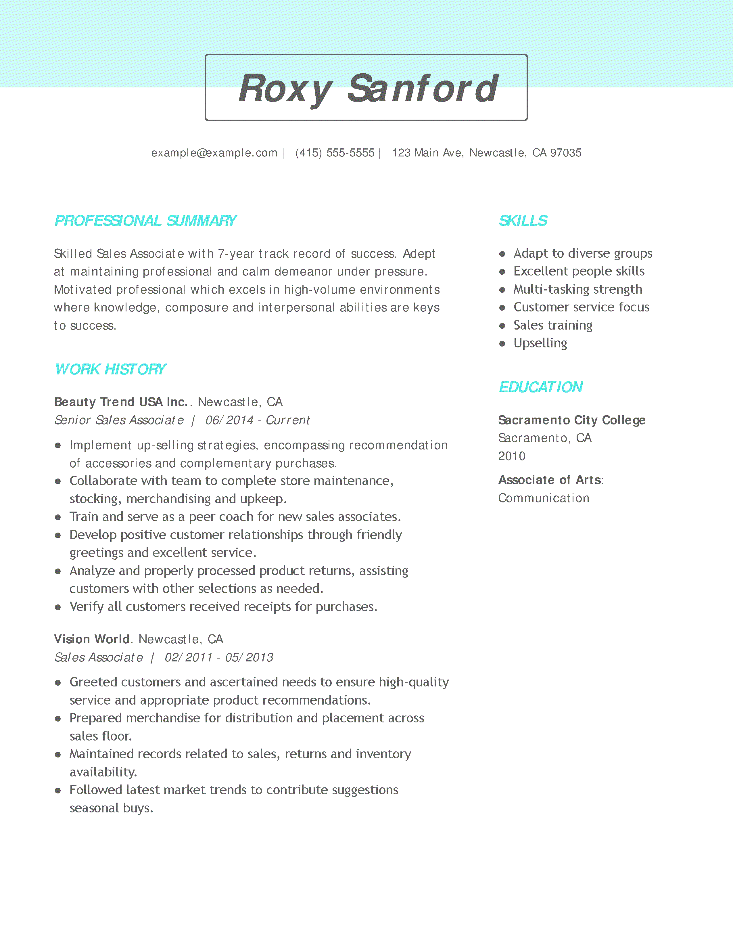 examples of retail job resumes