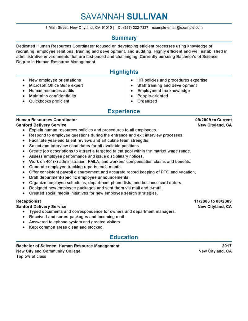 resume for hr position example