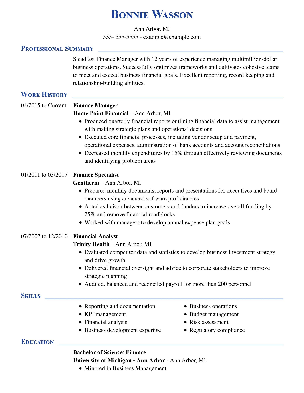 8 Amazing Finance Resume Examples Livecareer