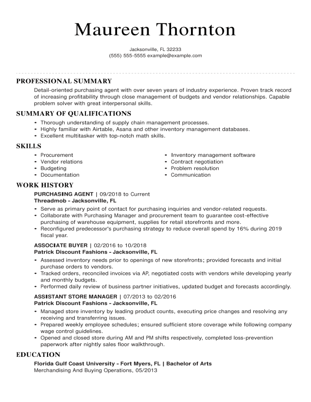 Purchasing Agent Resume Examples  Purchasing  LiveCareer