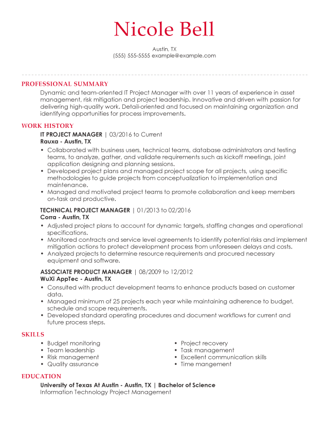 Information Technology Resume Examples  LiveCareer