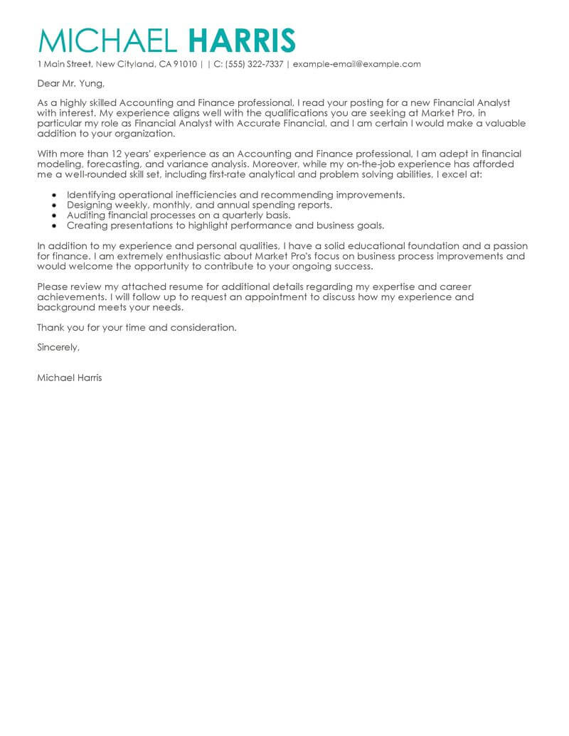 Cover Letter Examples For Resume Finance