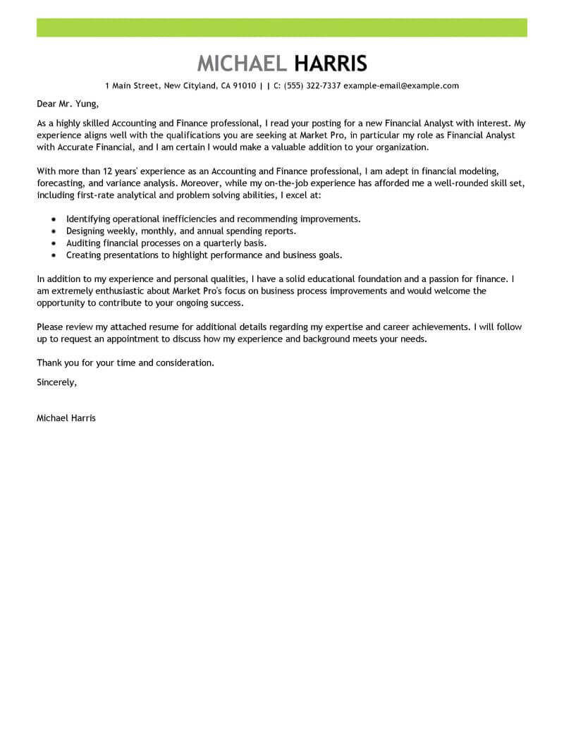 Best Accounting  Finance Cover Letter Examples  LiveCareer