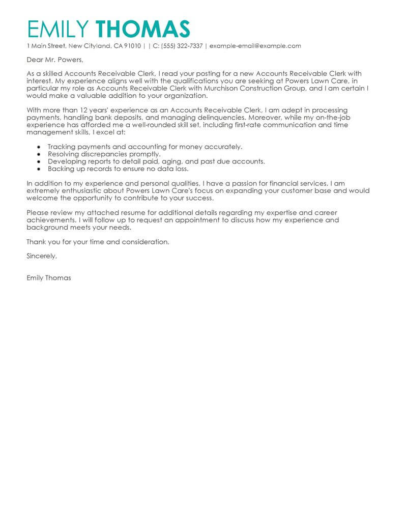 Best Accounts Receivable Clerk Cover Letter Examples  LiveCareer