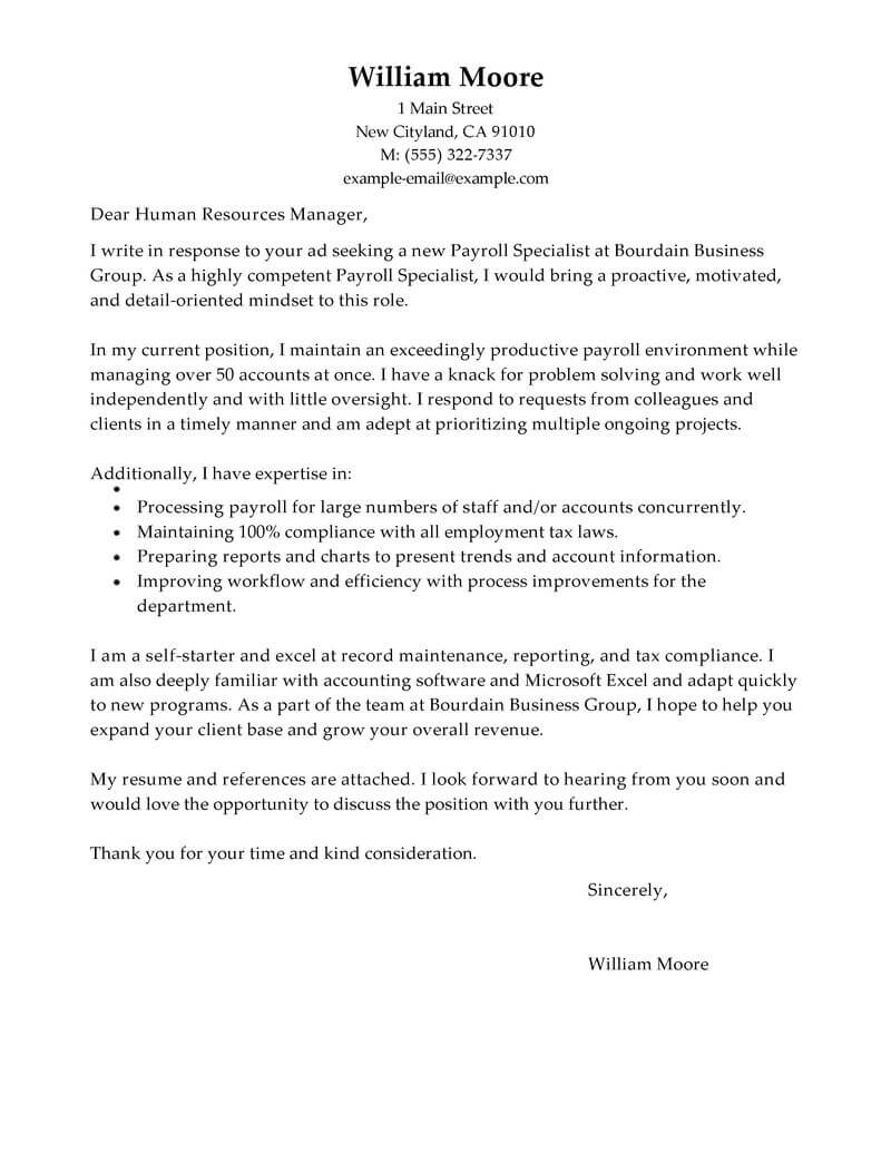 Cover Letter Payroll Assistant