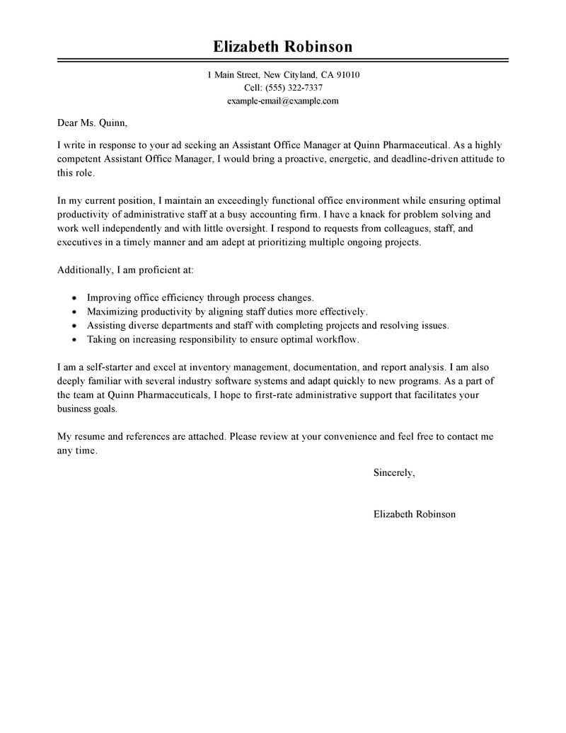 cover letter example for administrative position