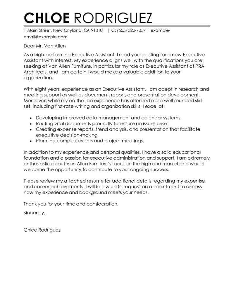 Cover Letter Executive Resumes Templates