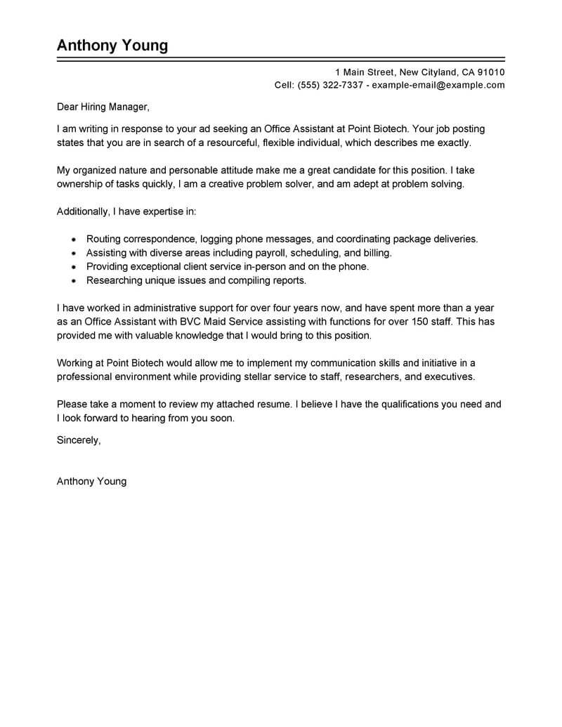Cover Letter Assistant Marketing Manager