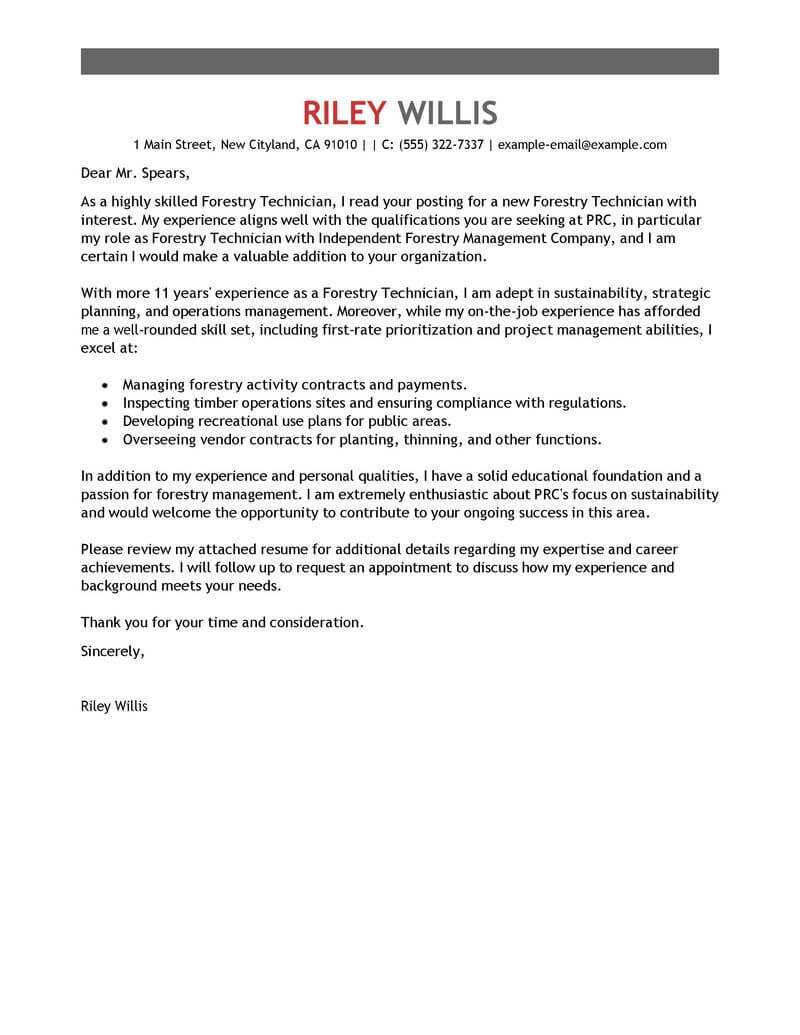 Best Agriculture & Environment Cover Letter Samples
