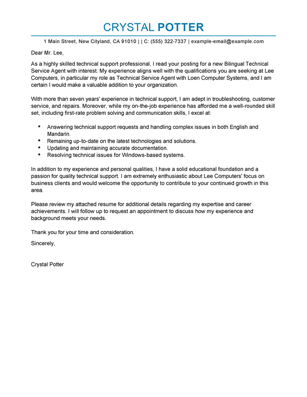 Best Bilingual Technical Service Agent Cover Letter