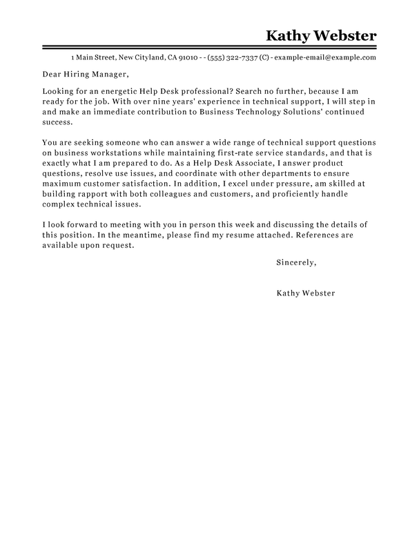 Best Help Desk Cover Letter Examples  LiveCareer