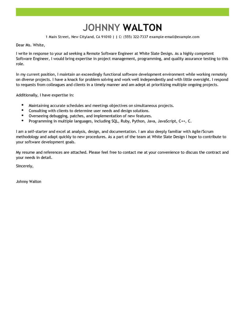 Best Remote Software Engineer Cover Letter Examples  LiveCareer