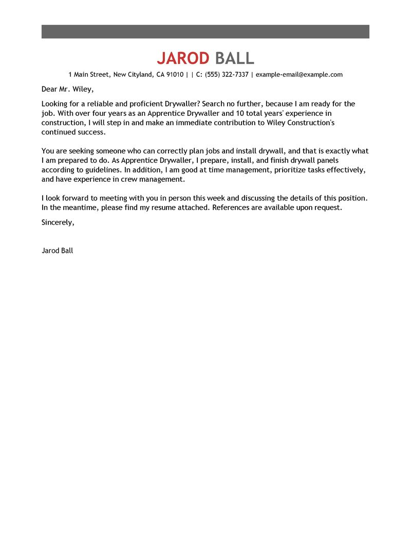 Best Apprentice Drywaller Cover Letter Examples LiveCareer
