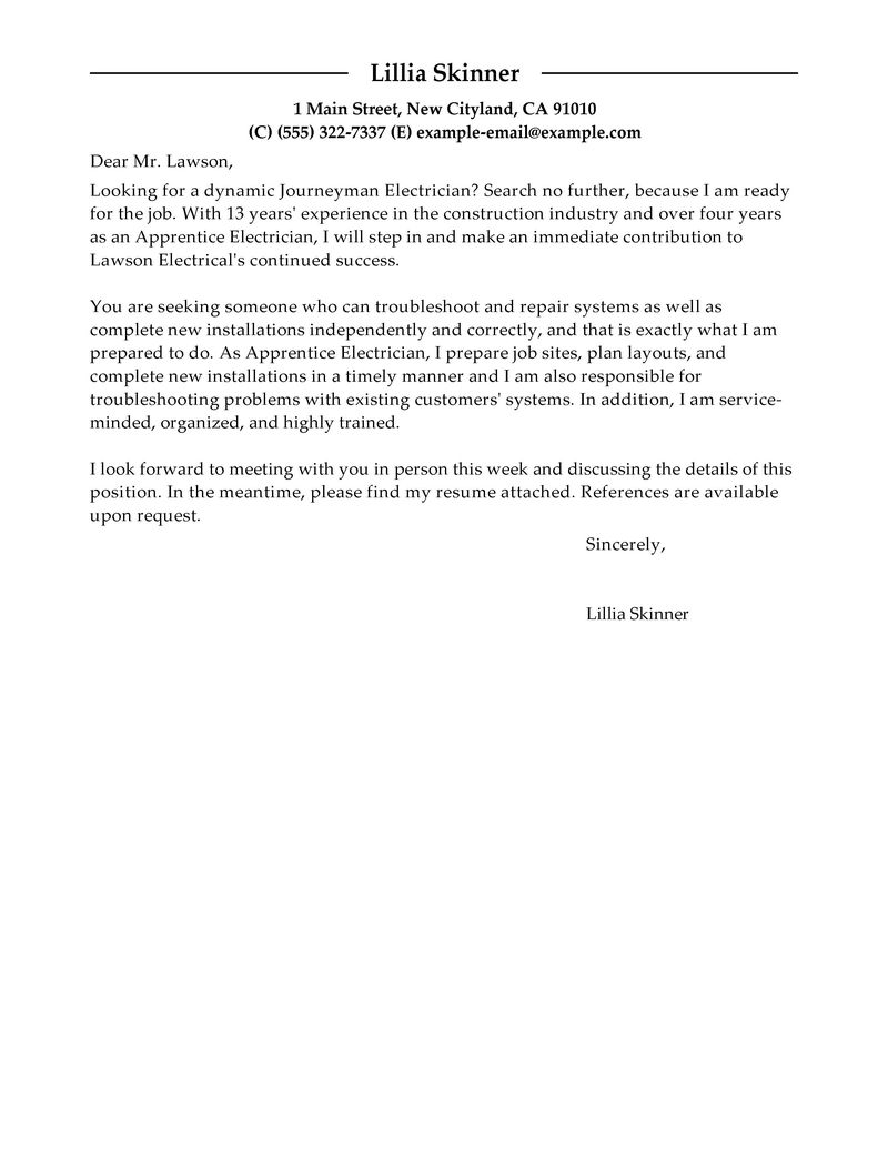 Best Apprentice Electrician Cover Letter Examples  LiveCareer