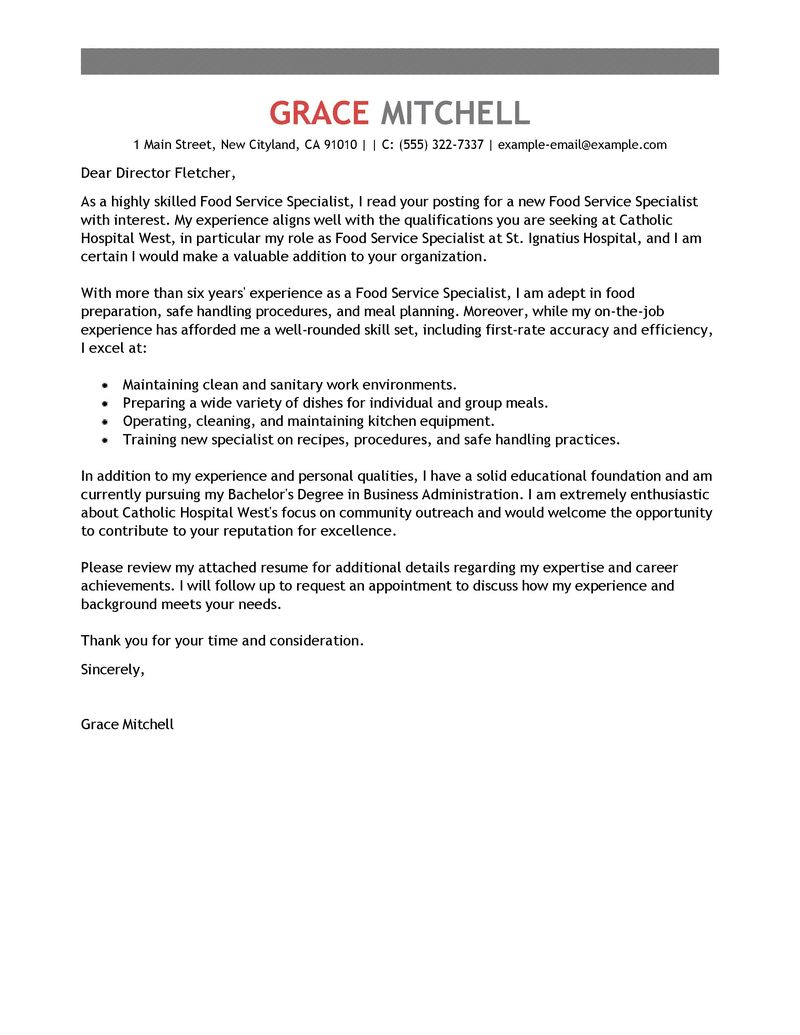 Best Food Service Specialist Cover Letter Examples  LiveCareer