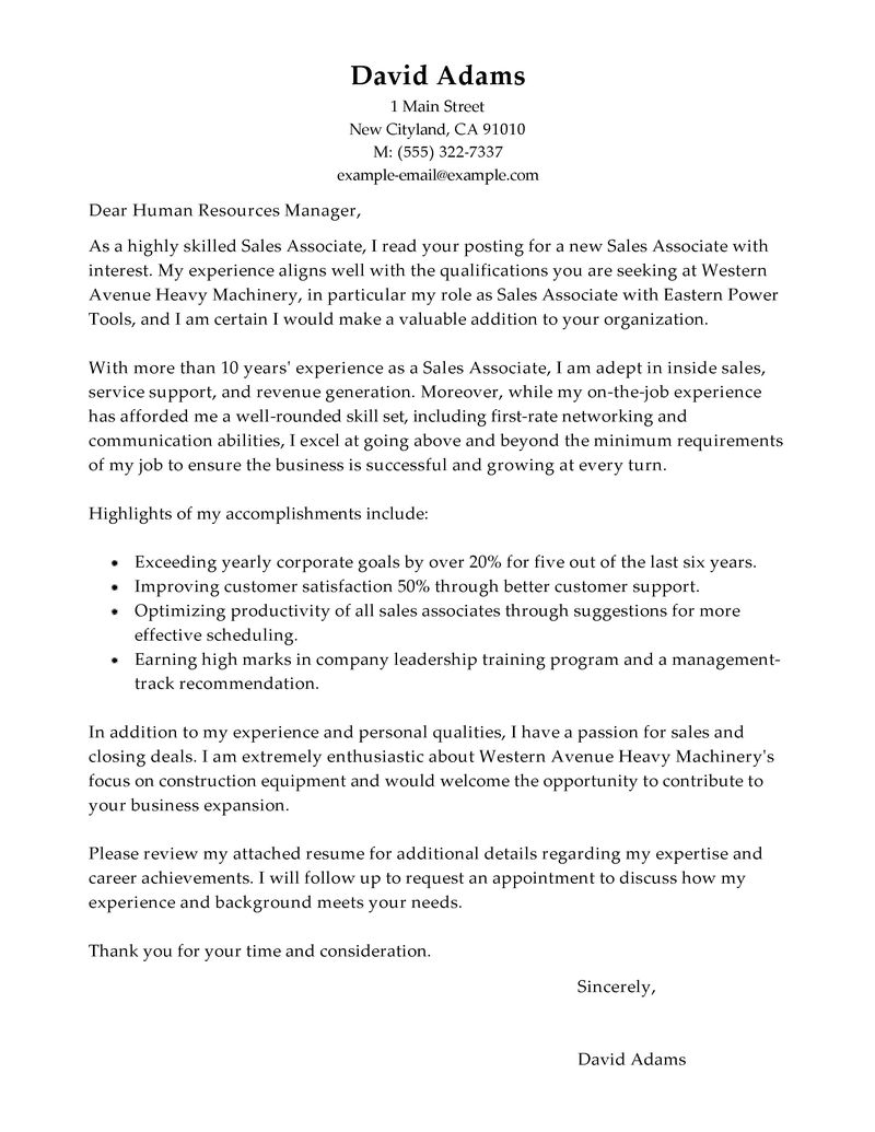 Best Customer Service Sales Associate Cover Letter Examples  LiveCareer
