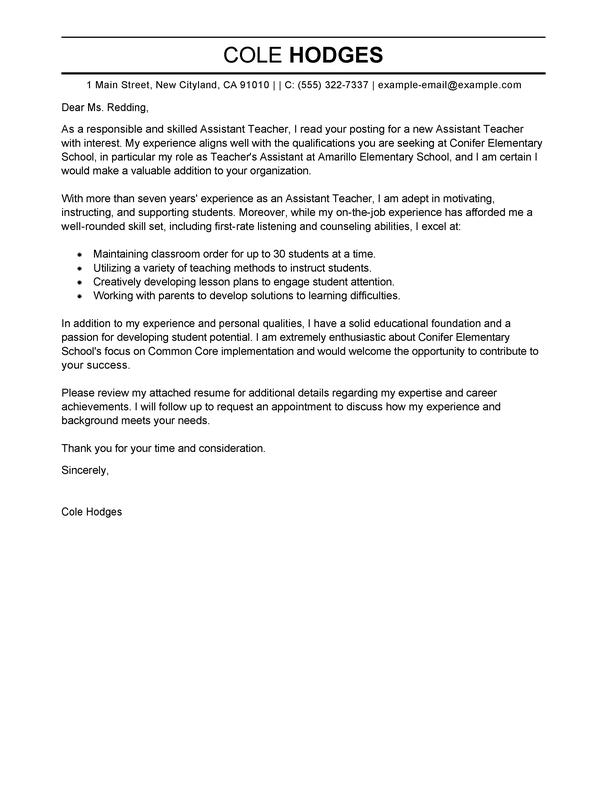 Best Assistant Teacher Cover Letter Examples  LiveCareer