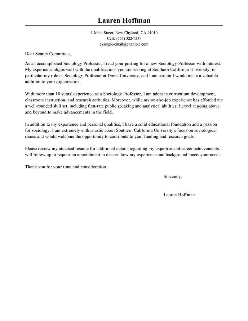 Best Professor Cover Letter Examples  LiveCareer