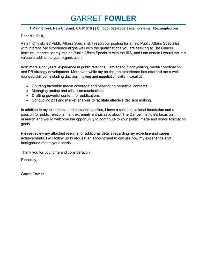 Best Public Affairs Specialist Cover Letter Examples  LiveCareer