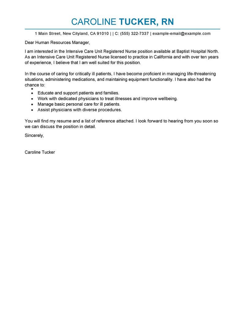 registered nurse cover letter examples
