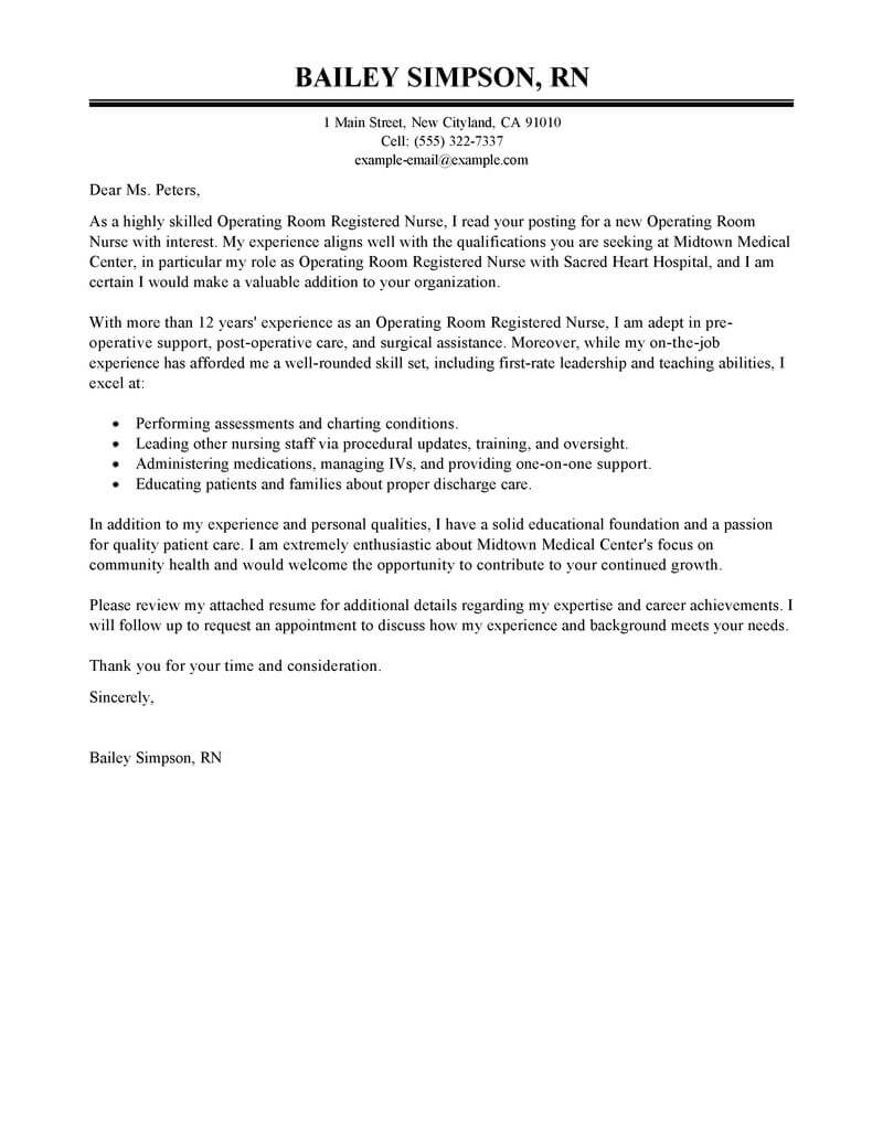 Best Operating Room Registered Nurse Cover Letter Examples  LiveCareer