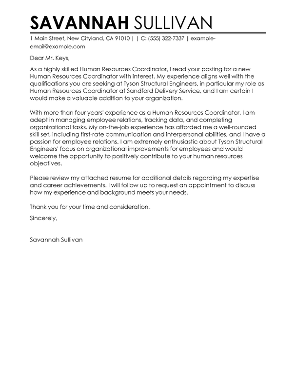 human resource assistant cover letter