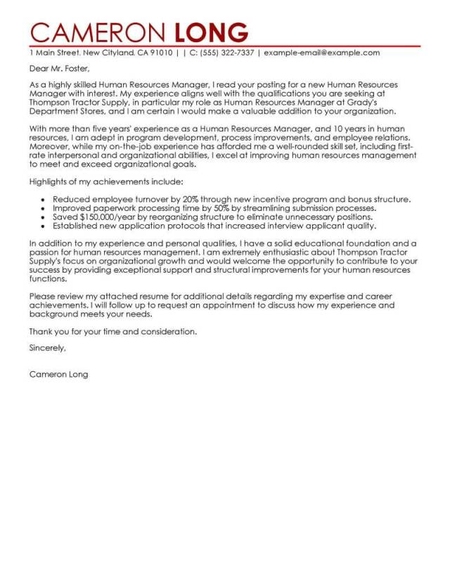 Human Resources Manager Cover Letter Examples  LiveCareer