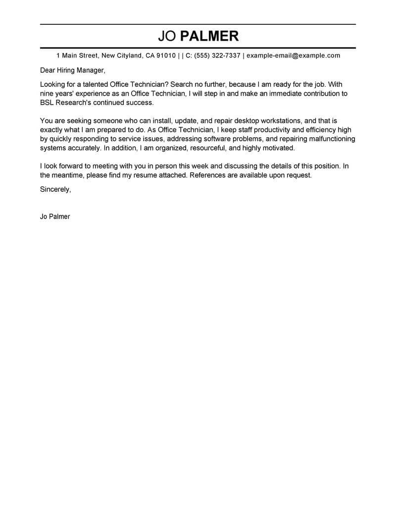 Best Office Technician Cover Letter Examples  LiveCareer
