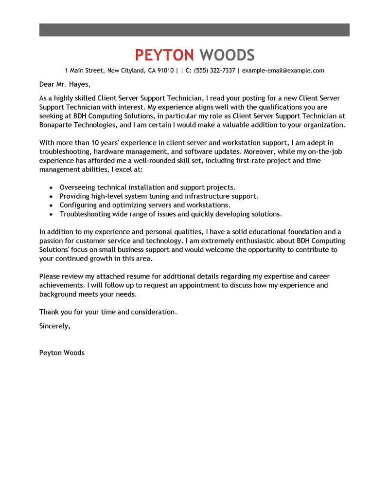 Best ClientServer Technician Cover Letter Examples  LiveCareer