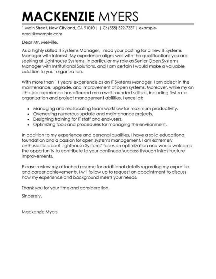 Information Technology Cover Letter Examples Livecareer
