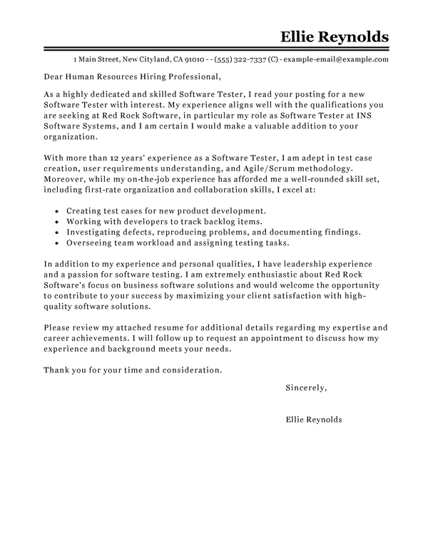 Best Software Testing Cover Letter Examples  LiveCareer