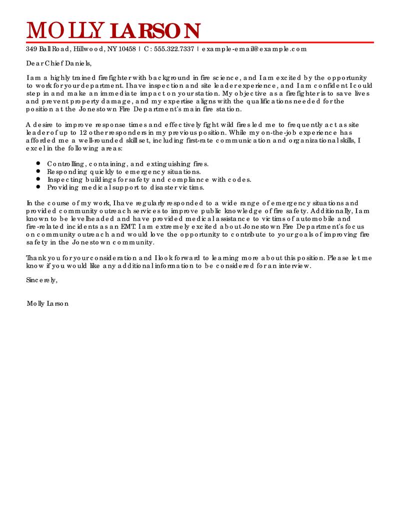 Best Firefighter Cover Letter Examples LiveCareer