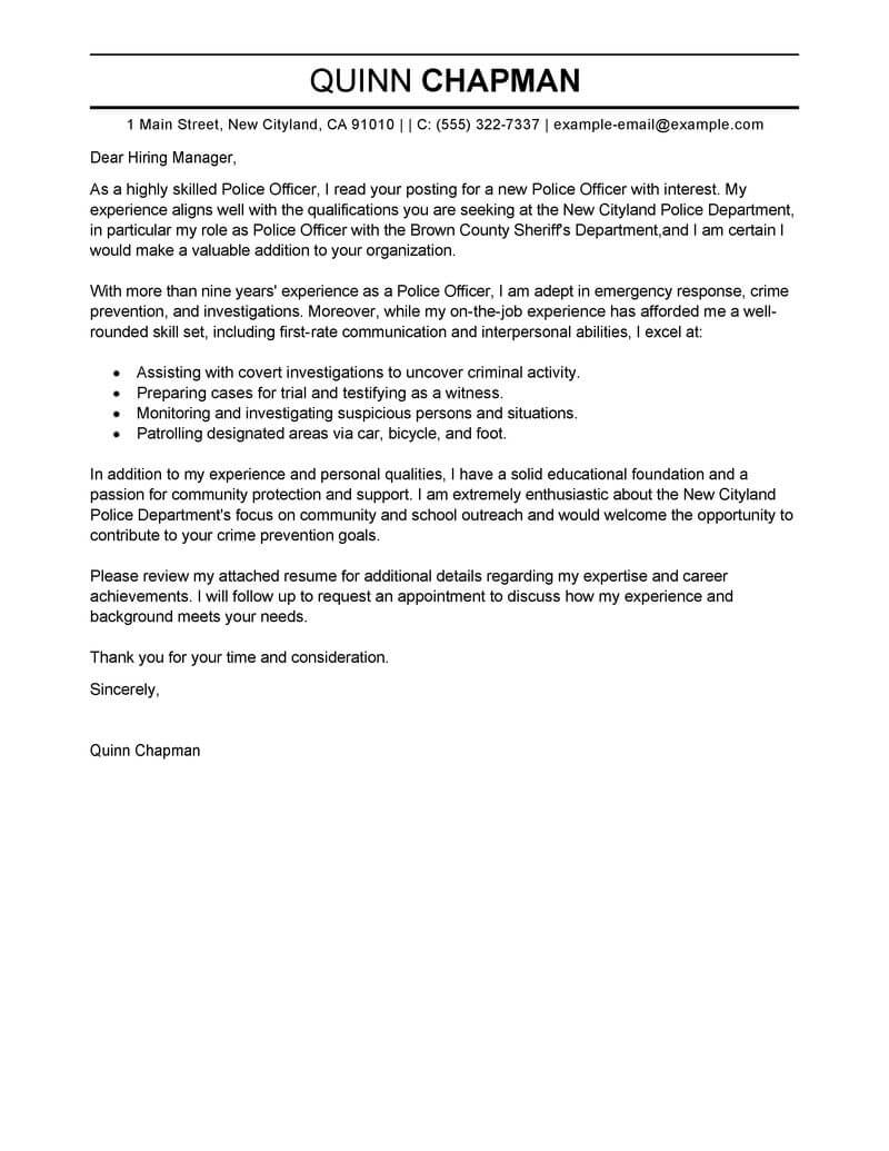 police chief resume cover letter examples