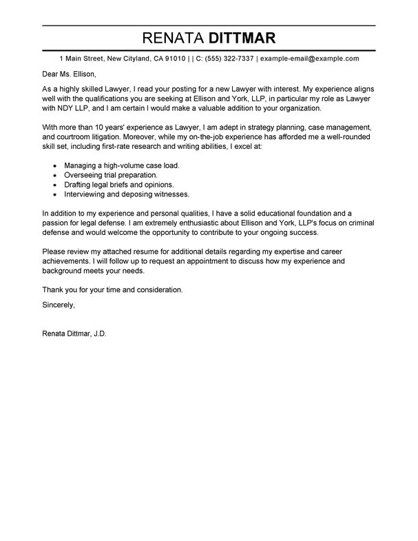 Lawyer Cover Letter Examples Law Enforcement Livecareer