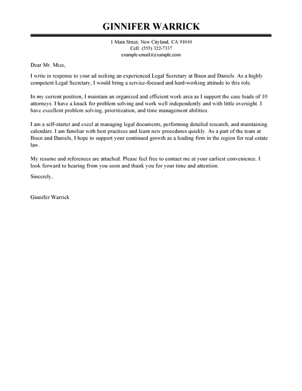 Cover Letter For Legal Secretary