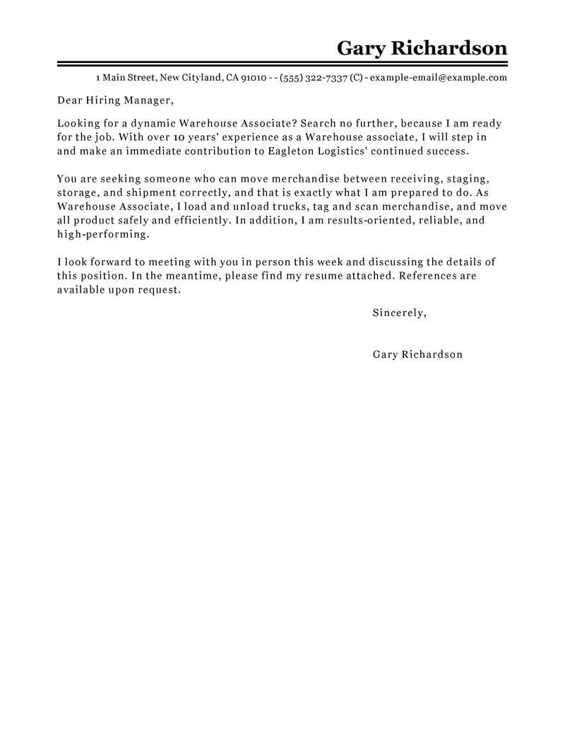 Warehouse Associate Cover Letter  Sample Cover Letters  LiveCareercom