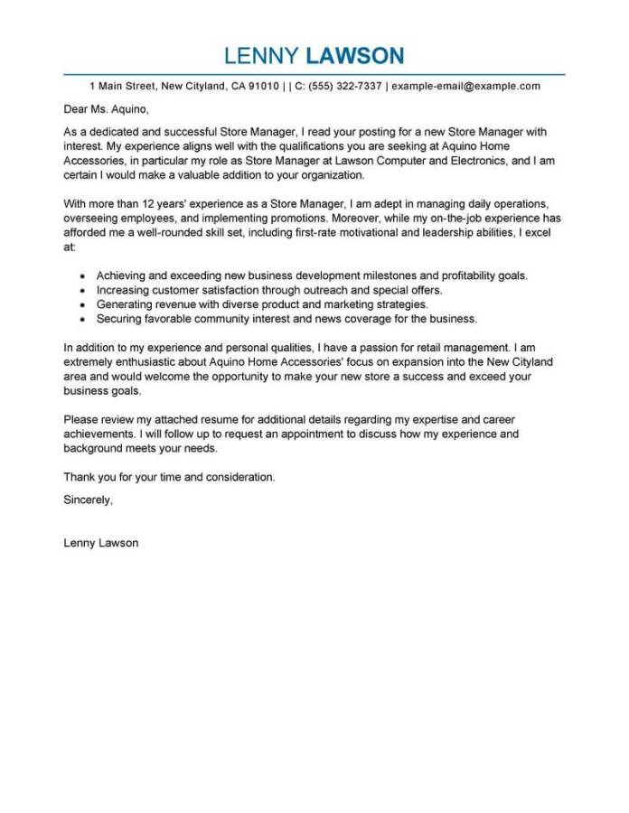 Store Manager Cover Letter Examples Retail Livecareer