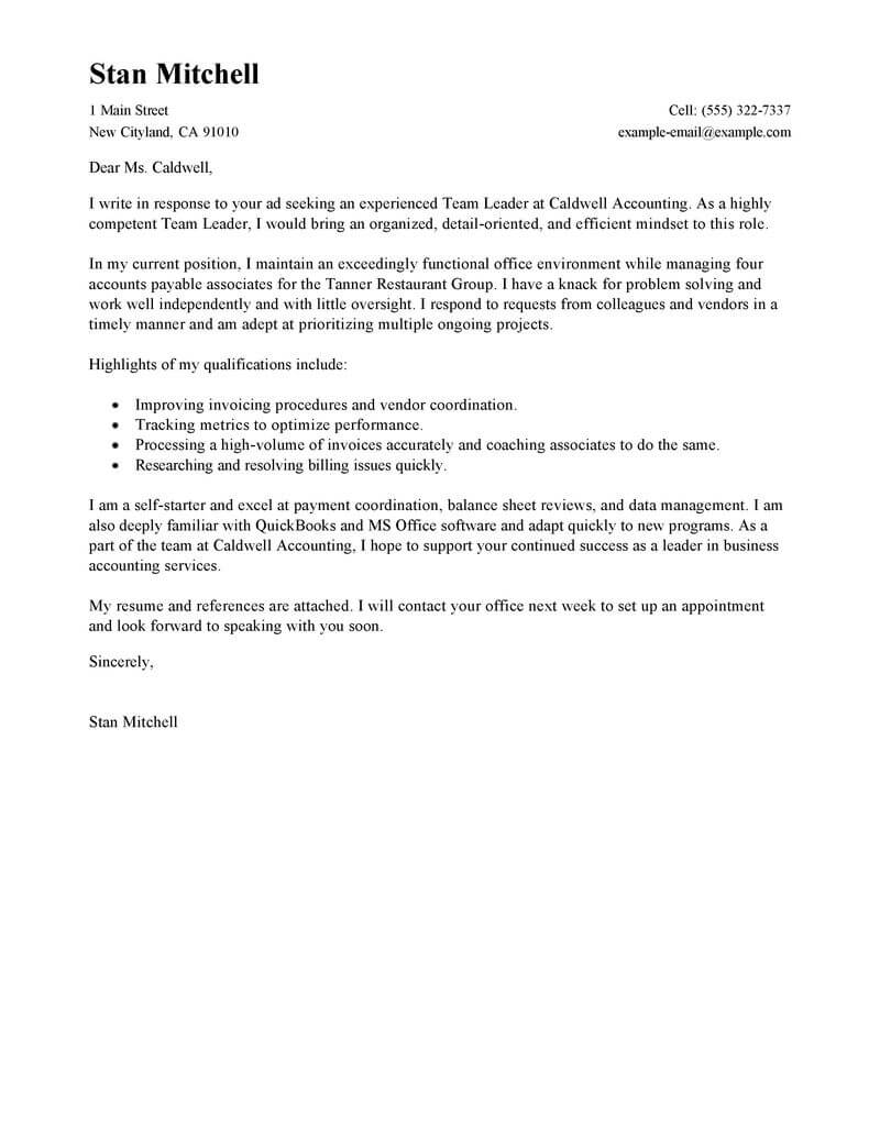 Best Management Team Lead Cover Letter Examples Livecareer