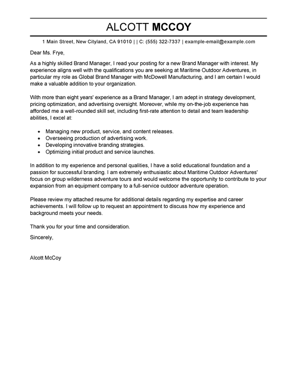 Professional Brand Manager Cover Letter Examples Livecareer