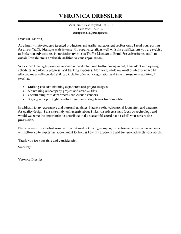 Cover Letter Traffic Assistant