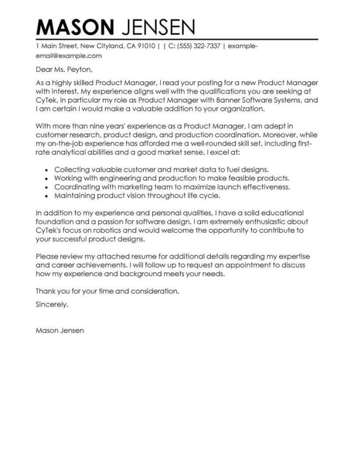 Professional Product Manager Cover Letter Examples Livecareer