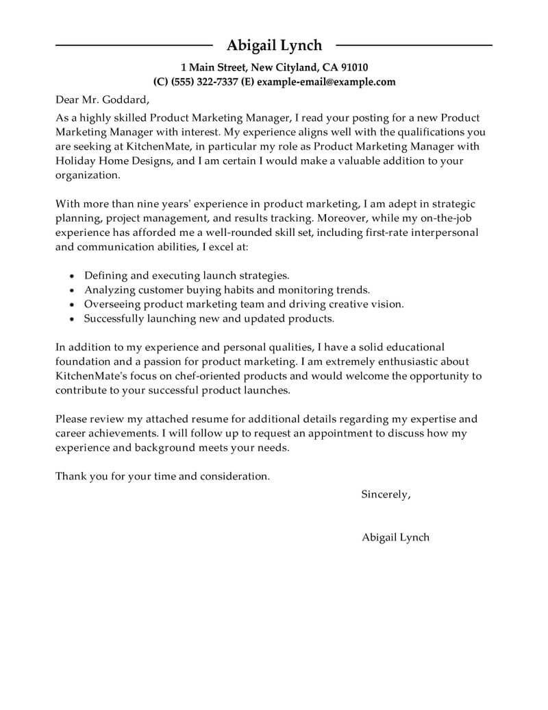 Cover Letter Marketer Resume
