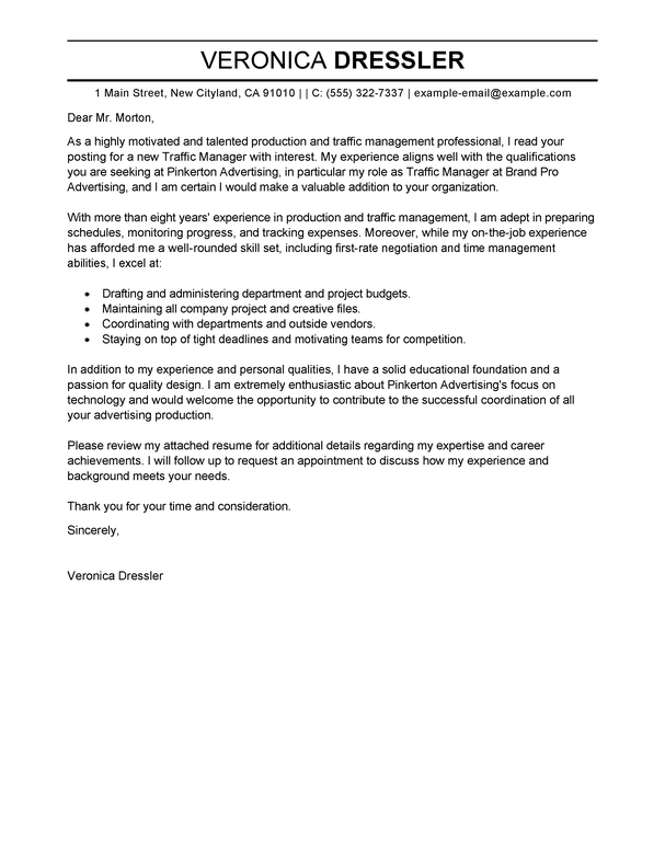 Best Traffic and Production Manager Cover Letter Examples  LiveCareer