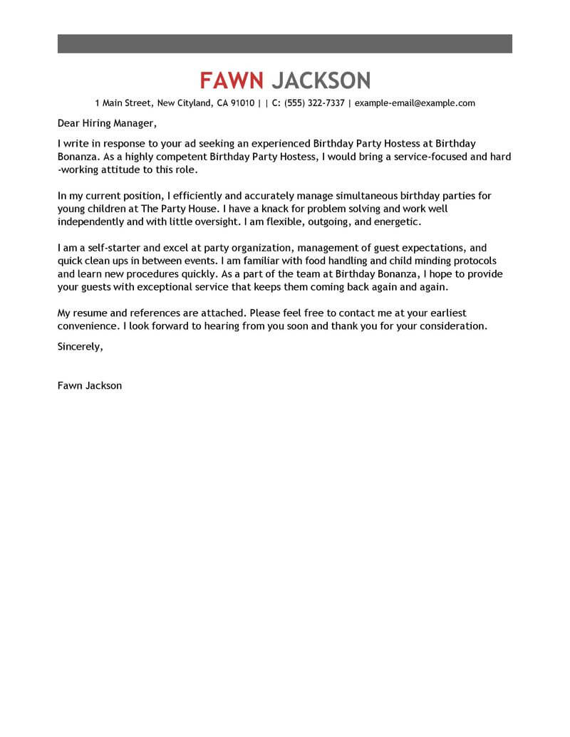 Best Birthday Party Host Cover Letter Examples LiveCareer
