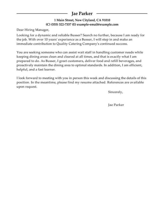 Professional Busser Cover Letter Examples Food Service Livecareer
