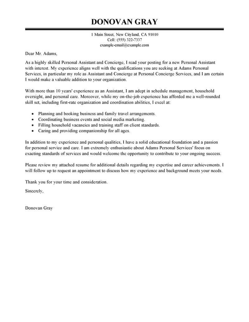 Best Personal Services Cover Letter Examples LiveCareer