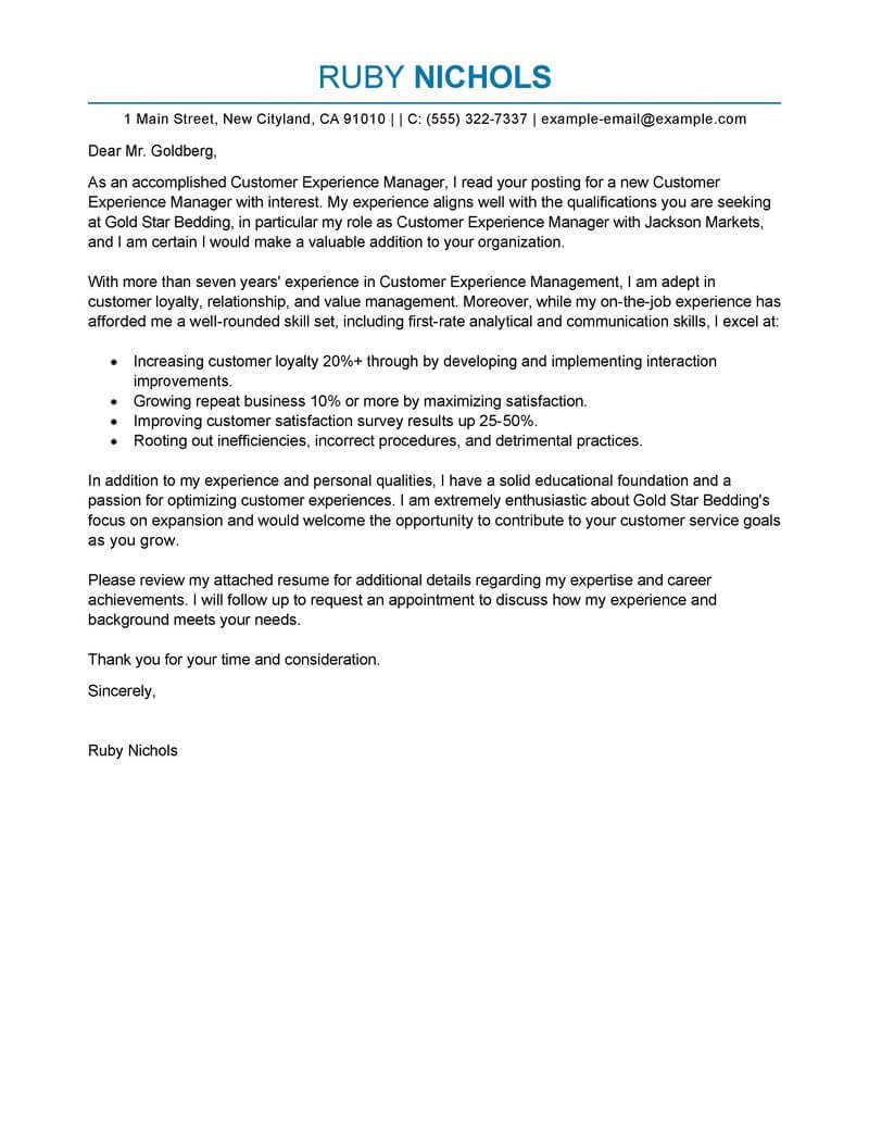 Best Customer Experience Manager Cover Letter Examples  LiveCareer