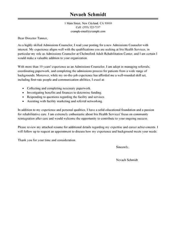 Admissions Counselor Cover Letter  Sample Cover Letters  LiveCareercom