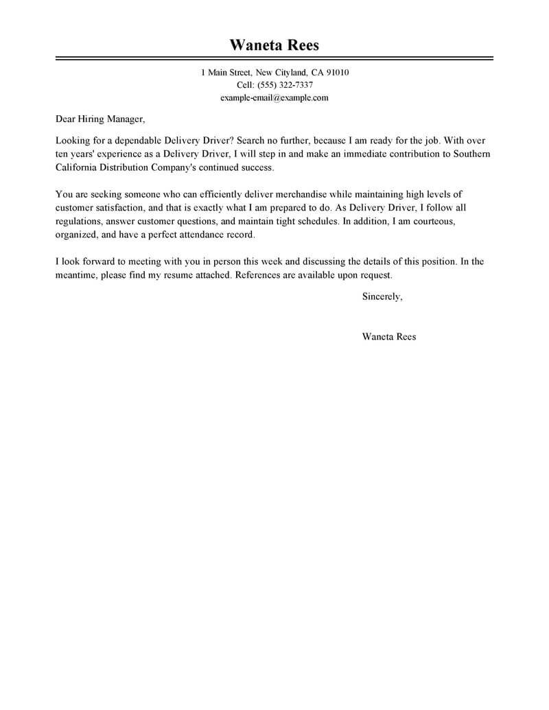 Best Delivery Driver Cover Letter Examples  LiveCareer